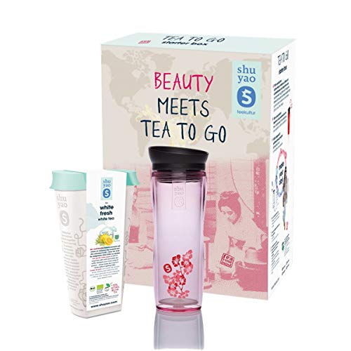 Shuyao Beauty Box Tea to Go Thermobecher floral pink (360ml) mit Integriertem Teesieb + loser weißer Tee (50 g)