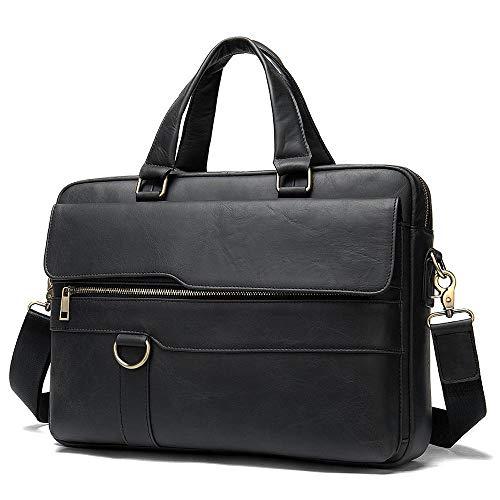 Leather Men's Briefcase, First Layer Leather Large-Capacity Handbag 15 inch Laptop Shoulder Bag-Dark Grey