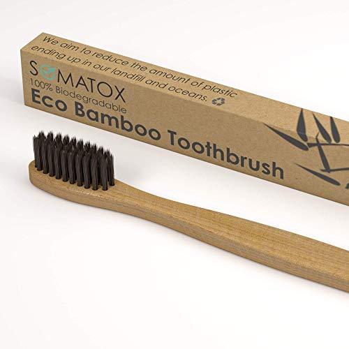 10 cepillos de dientes de bambú Eco con cerdas de carbón activado, cerdas suaves, biodegradables, cepillo de dientes de bambú, 100% libre de BPA y SOMATOX natural
