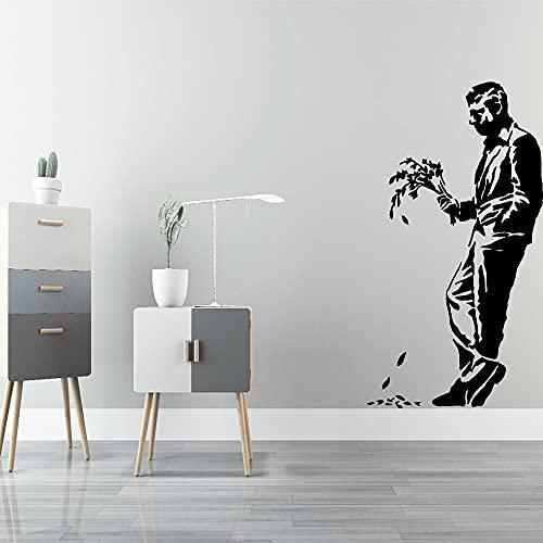 Abstract Banksy Style Broken Love Gentleman Flower Lonely Sad Man Etiqueta de la pared Calcomanía de vinilo Dormitorio Sala de estar Club Studio Decoración para el hogar Mural