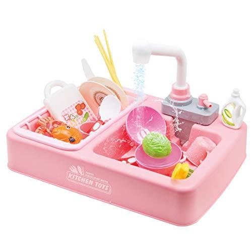Aanrecht Speelgoed 22 Stuk Kids Afwassen Elektrische Speelsets Set met Stromend Water & Muziek Educatief Speelgoed voor Peuters Rollenspel,Pink
