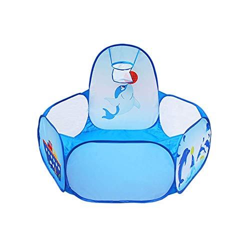 ZPLHX Playpen Hexagonal Baby Playpen, Koyddlers de Seguridad con aro de Baloncesto, Anti-Rollover Blue Kids Play Cerca de Juego para mamá y bebé (Color : -, Size : -)