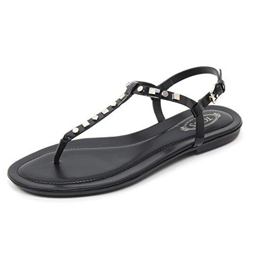 Tod's B7644 Infradito Donna Scarpa Sandalo Nero Borchie Flip Flop Shoe Woman [35]