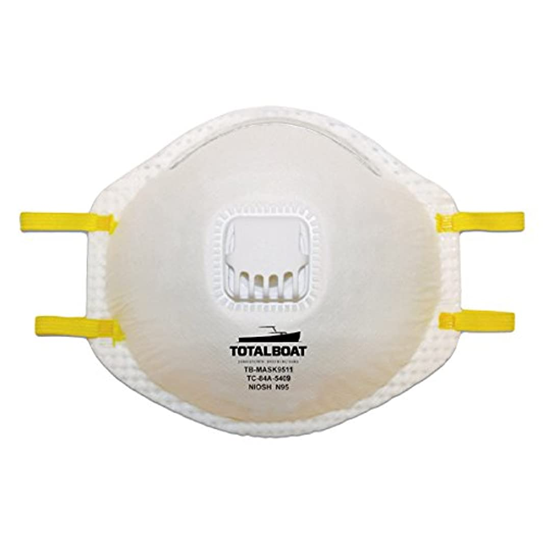 TotalBoat N95 Disposable Dust Mask with Exhalation Valve 10-Pack