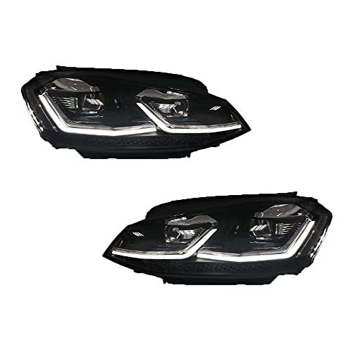 2 Stück Scheinwerfer für Golf 7 2013-2017 Bi-Xenon Linse Projektor Doppellicht Xenon HID Kit mit LED Tagfahrlicht
