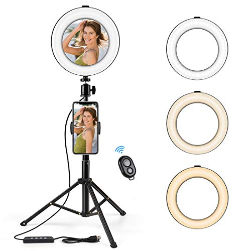 """KinCam 8"""" LED Selfie Ring Light with Mirror Tripod Stand Phone Holder for Live Stream YouTube & Makeup Vlog TikTok,3 Modes Light & 10 Brightness Level Circle Light with Remote Control"""