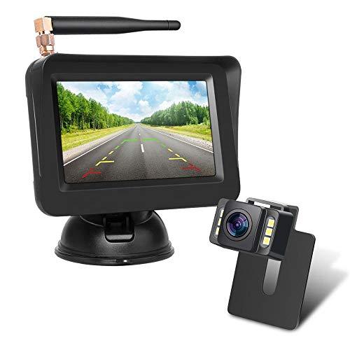 Wireless Backup Kamera-Kit,Rückfahrkamera drahtlos, IP68 Wasserdicht LED Super Nummernschild Nachtsicht Rückseite Funk Back Up Auto-Kamera,10,9cm LCD TFT kabellos Rückfahrkamera Monitor
