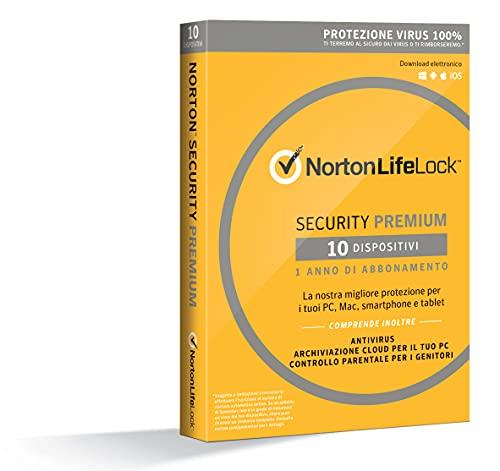 Norton Security Premium Antivirus Software 2019 | 10 Dispositivi (Licenza di 1 anno) | Compatibile con Mac, Windows, iOS e Android