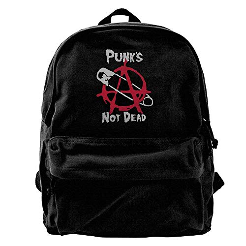 Rucksäcke, Daypacks,Taschen, Punk's Not Dead Unisex Classic Canvas Backpack,Unique Print Style,Fits 14Inch Laptop,Durable,Black