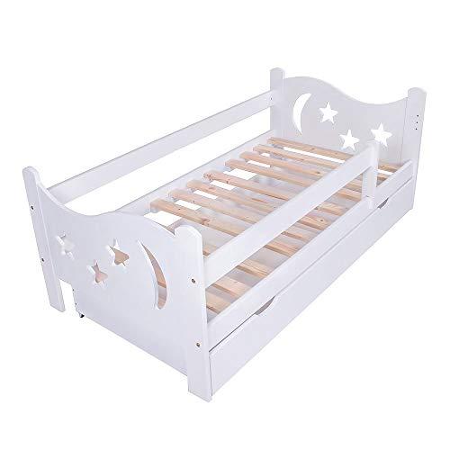 KAGU Chrisi Kinderbett mit Rausfallschutz Jugendbett Holz Bett mit mit Schublade (160 x 80 cm, Weiß)