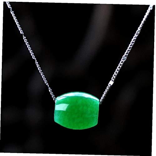 BYFRI 1pc Verde Colgante Piedra Natural Cadena Elegante Esmeralda Collar Largo Pendiente Encantos del Estrangulador Mujeres