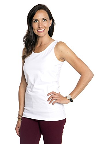 Heirloom Clothing Tank Top Womens Wide Strap Comfortable Shirt Dressy Or Active Wear (White, S)
