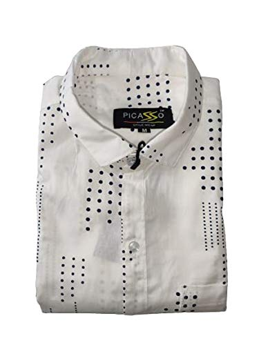 Polka Print Dotted Cotton Shirts for Men for Formal Wear (X-Large) White