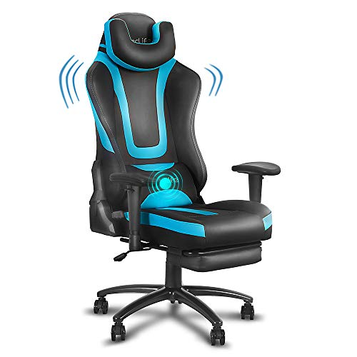 eclife Gaming Chair Office Chair High Back Ergonomic Video Game Chair Backrest and Seat Height Adjustable Swivel Recliner with Headrest and Lumbar Pillow Esports Chair with Footrest(Blue)