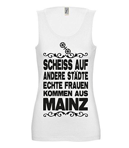 Artdiktat Damen Tank Top T-Shirt Scheiß auf Andere Städte - Echte Frauen Kommen Aus Mainz Größe M, Weiß
