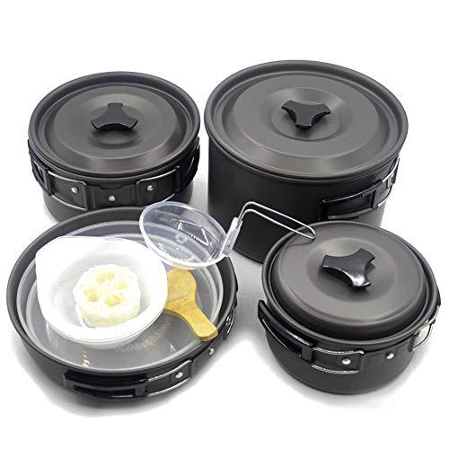 SSDM Juego De Utensilios De Cocina De Aluminio Anodizado para Acampar, Sartenes para Mochileros, Kit De Desorden De Ollas para 4-5 Personas