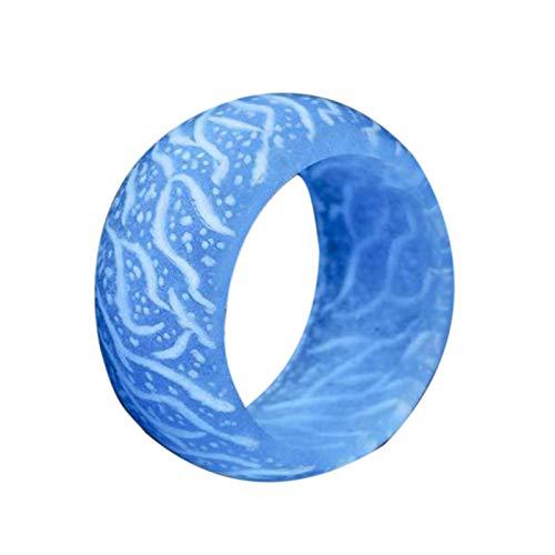 Ruby569y Regalo de fiesta para niños y adultos, anillo de plástico luminoso, accesorio de joyería de colores para mujeres y hombres, accesorio de joyería de Navidad, regalo azul claro US 7
