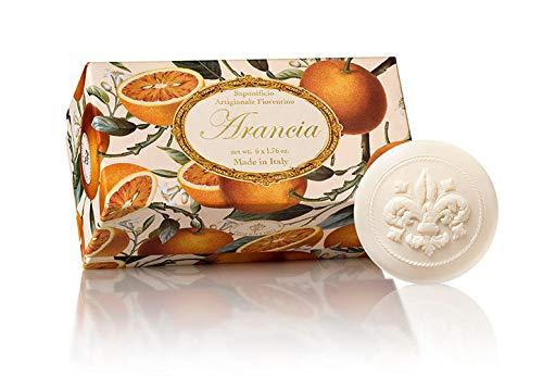 Fiorentino - Arancia - Jabón Naranja, redondo, 6 pastillas de 50 g, Jabón italiano hecho a mano de Fiorentino, con relieve decorativo