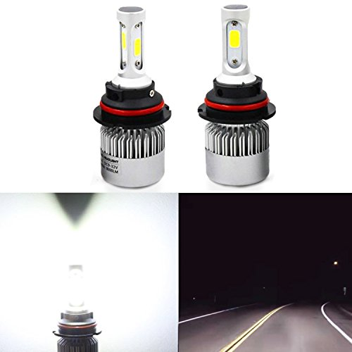 Alla Lighting HB5 9007 LED Bulbs Replacement Upgrade Halogen/HID Dipped Beam Extremely Super Bright COB 8000Lm Conversion Kits, 6500K Xenon White