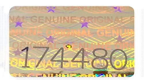 200 St. Hologramm Etiketten mit Seriennummern, Garantie Siegel Aufkleber 16x10mm