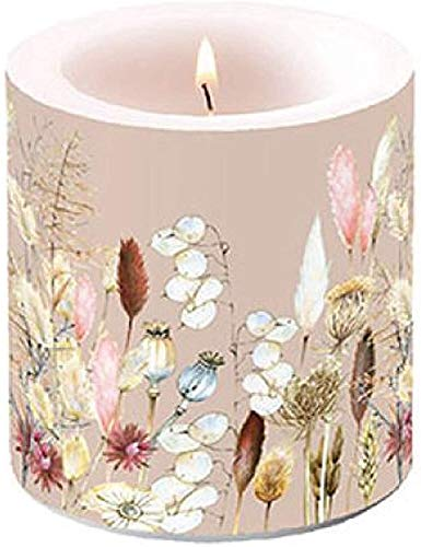 Miss Lovely Stumpen-Kerze Windlicht Potpourri mit Blumen Gräser Pampas-Gras Natural Living beige Taupe Tisch-Dekoration Servietten Frühling Sommer Ostern