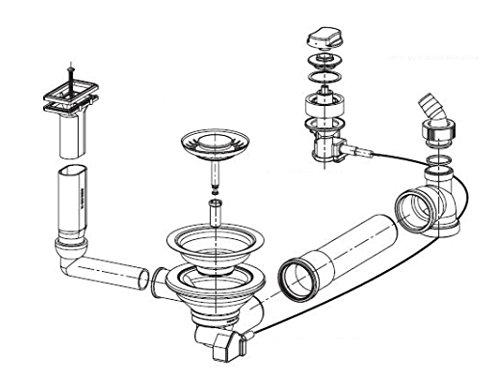 Ab- und Überlaufgarnitur für Franke Spülen Euroform EFG 614-78, EFG 681, EFX 681, Strata STG 614 und Liebera LIX 681 / Excenterventil / Ersatzteil / Ablaufgarnitur