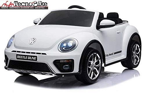 Tecnobike Shop Auto Elettrica per Bambini Volkswagen Maggiolino New Beetle 12V Ufficiale Volkswagen 2 Luci Suoni Mp3 (Bianco)