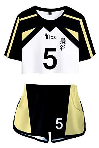 Snuter Damen Haikyuu Fukurodani Akademie NR. 5 Keiji Akaashi Cosplay Kostüme Jersey Volleyball Trikot Sportkleidung Uniform Geburtstagsgeschenk