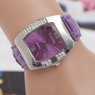 Fashion Watches Schöne Uhren, Damen Runden Zifferblatt Fall Legierung Uhrenmarke weisequarzuhr (Farbe : Rot, Großauswahl : Für Damen-Einheitsgröße)