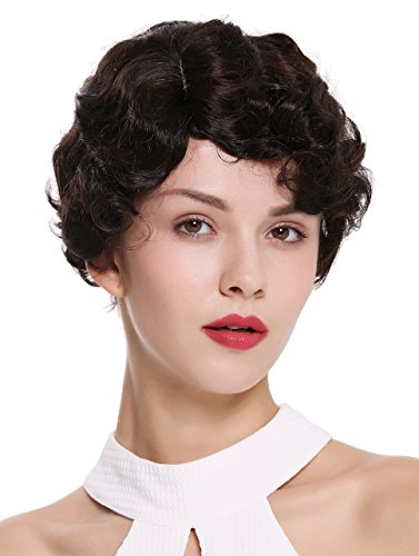 WIG ME UP ® - LD501-4BH33 Parrucca Donna Corta Anni 20 Swing Charleston Ondulata Riga Mix Castano
