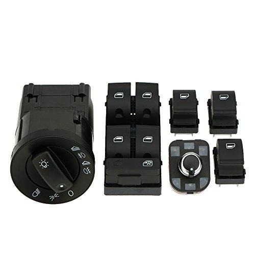 KKmoon YCN4307309758343MQ Kit 6 Interruptor Control Faro Eléctrica Ventana Principal y Perilla Espejo Retrovisor Ajuste