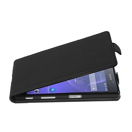 Cadorabo Hülle für Sony Xperia X Performance - Hülle in Oxid SCHWARZ – Handyhülle aus Strukturiertem Kunstleder im Flip Design - Case Cover Schutzhülle Etui Tasche