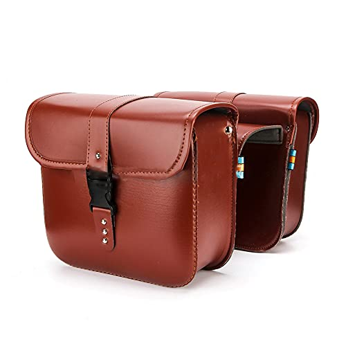 Fahrradtasche Doppeltasche Gepäckträger Tasche, Retro Rücksitz-Kofferraumtasche mit Gurt, für Pendlergepäckträger