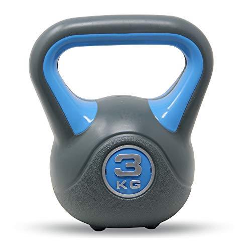 POWRX Kettlebell 2-20 kg - Ideale per Esercizi di »Functional Fitness« - Base con Gommini Antiscivolo + PDF Workout (3 kg/Celeste)