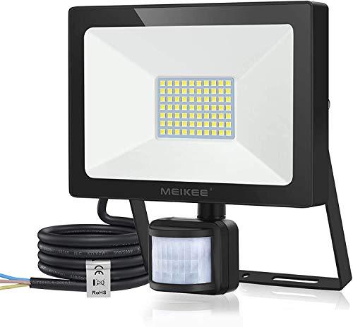 MEIKEE Faretto LED 60W con rilevatore di Movimento 6000LM proiettore LED Super Luminoso IP66 proiettore Impermeabile faretto in Alluminio Lampada da Parete per Garage da Giardino Campo Sportivo