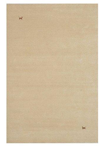 Morgenland Gabbeh Teppich ASTERIA Beige Einfarbig Tiere Schurwolle Handgewebt 140 x 70 cm