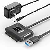 SATA to USB Adapter 3.5 Inch,Qmiypf USB 3.0 to SATA Adapter Cable for 3.5/2.5 Inch SSD HDD SATA III Hard Drive Disk Converter Support UASP with 12V Power Adapter
