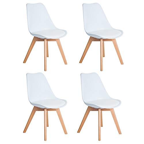 DORAFAIR Pack 4 sillas escandinava Estilo nórdico Silla de Comedor, con Las piernas de Madera de Haya Maciza y cojín cómoda,Blanco