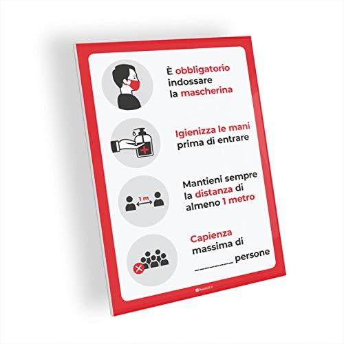 Adesivi e Cartelli Covid-19 Segnaletica con regole per bar e ristorazione, indicazione capienza, adesivo PVC e pannello Forex, bolle (Cartello Forex 5mm, A4 tipologia 5)