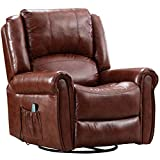 Pongsona Massage Recliner Chair with Heat Ergonomic Rocker Recliner Lounge Chair,PU Leather 360 Degree Swivel Widened Reclining Sofa for Livig Room,with Side Pocket and Remote Control.(Gold Brown)