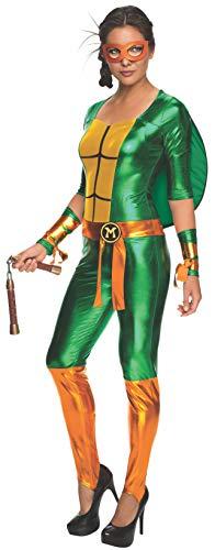 Rubie's womens Secret Wishes Teenage Mutant Ninja Turtles Michelangelo Costume Jumpsuit Party Supplies, As Shown, Small US