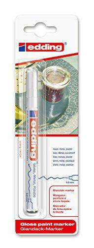 edding 780 Glanz-Lack-Marker - Weiß - 1er Blisterkarte - Lackmarker zur Gestaltung von Glas, Metall & Papier