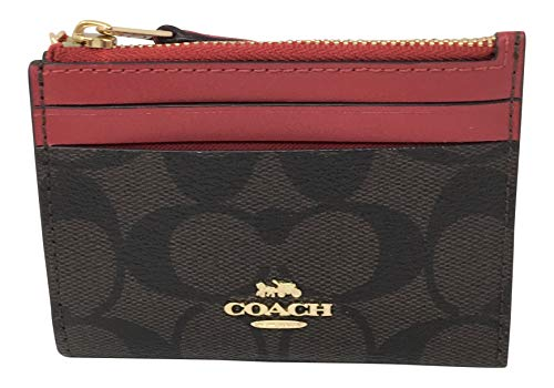 Coach Mini Skinny ID Key ring Coin Case Signature Wallet Brown True Red F88208