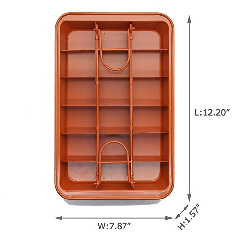 """Non-stick Chocolate Brownie Pan with Dividers, 18-cavity Rectangle Bakeware with Removable Loose Bottom, Heavy-duty Built-In Slicer Brownie Tray - Brown, 12.20"""" x 7.87"""" x 1.57"""""""