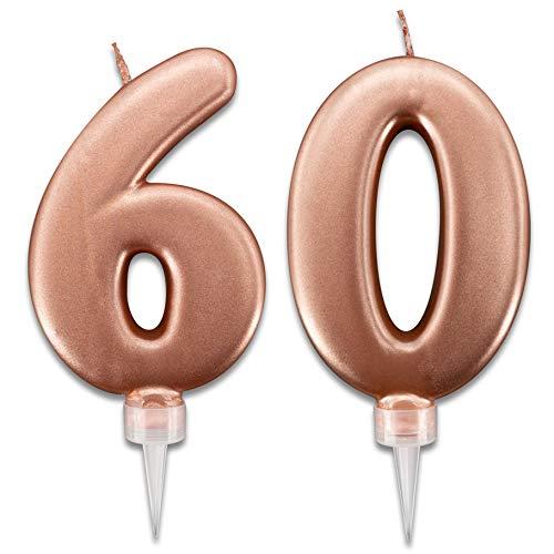 Candeline 60 Anni Rosa Gold per Torta Festa Compleanno | Decorazioni Candele Auguri Anniversario Torta 60 | Altezza 10 CM