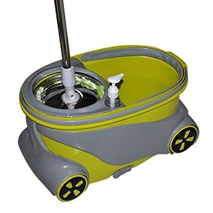 xtlstore 360grado–Fregona giratoria ruedas acero inoxidable spin-dry CUBITERA con 2cabezales de fregona