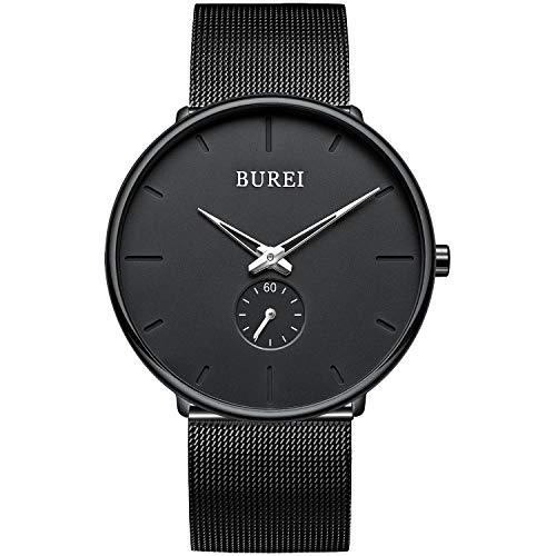 BUREI Reloj de los Hombres Minimalista Ultra Delgado Negro dial analógico con Reloj de Pulsera de Cuarzo Negro de Acero Inoxidable Banda de Malla