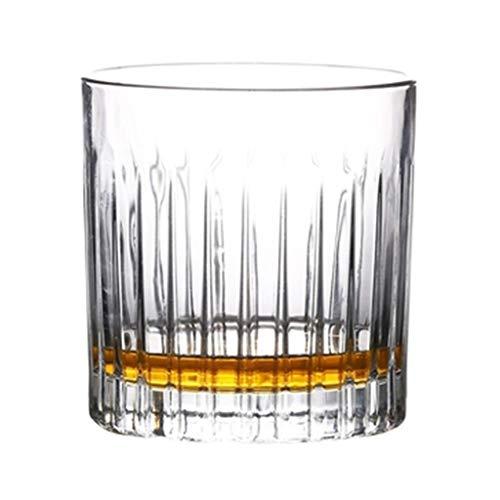 Verres à vin Verre À Whisky Rayé Verre À Cocktail Rétro 4 Verres Verre À Vin Vin Cadeau (Color : Clear, Size : 8.5 * 8.2 * 9.2cm)