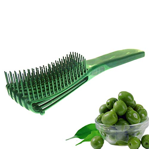 FlexiGlide Hair Brush Detangler for Coily Kinky Curly Wavy Straight Detangle Black Natural Hair Afro Texlaxed Relaxed 4C 4B 4A 3C 3B 3A 2C 2B 2A Wet Brush Detangling Olive Green