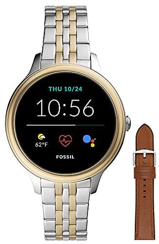 Fossil Connected Smartwatch Gen 5e para Mujer con tecnología Wear OS de Google, frecuencia cardíaca, Acero Inoxidable Bicolor + S221300 - Correa de Piel Marrón Claro y Silicona para Hombre